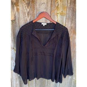 ARITZIA WILFRED black peasant blouse